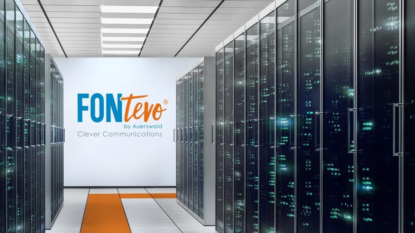 Fontevo imagefilm screencap - an orange line follows through a server room with the fontevo logo on the wall
